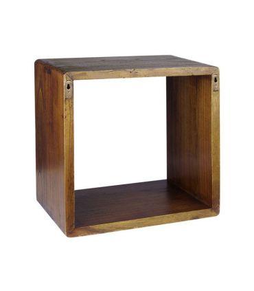 Estante cuadrado en madera natural de mindi Colección NORDIC