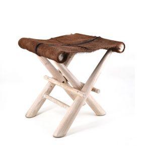 Comprar online Taburete de madera y piel de cabra LEIRE
