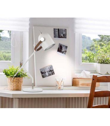 Lámpara de Sobremesa colección Adame Blanco/Plata Schuller
