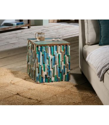 Taburete de madera reciclada colección Bali. Schuller