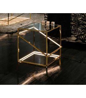 Comprar online Mesa Auxiliar de Acero con Luz Led colección Moonlight Oro