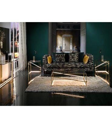 Mesa de centro en Acero con Luz Led colección Moonlight Oro