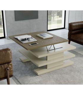 Comprar online Mesa de centro en madera lacada y tapa en roble CACERES Cuadrada