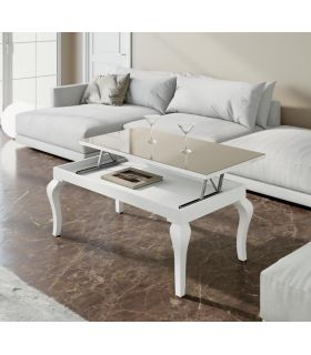 Comprar online Mesa de centro con tapa de cristal elevable modelo EXTREMADURA