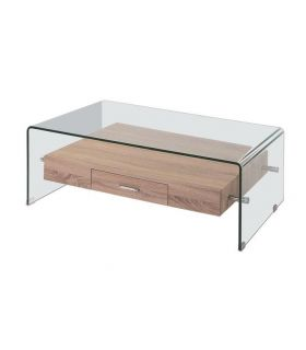 Mesa de centro en cristal curvado colección MERILYN