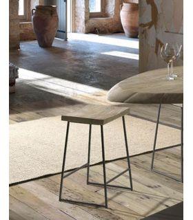 Comprar online Taburete en madera de acacia y metal modelo LOGAN