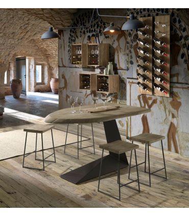 Taburete en madera de acacia y metal modelo LOGAN