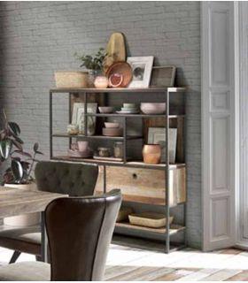 Comprar online Estantería de estilo Industrial en teka y metal Colección TUAREG