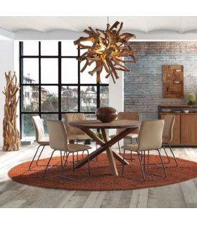 Comprar online Mesa de comedor redonda en madera de teka reciclada FENDY