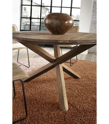 Mesa de comedor redonda en madera de teka reciclada FENDY