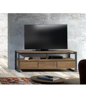 Comprar online Mesa de televisión de teka reciclada y metal colección FENDY