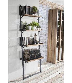 Comprar online Estantería escalera de madera de teka y metal Colección FENDY