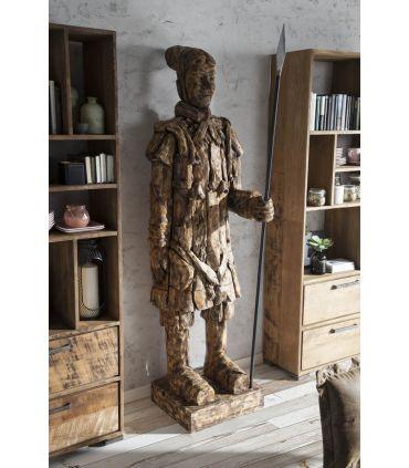 Figura decorativa en madera maciza Guerrero de Xian