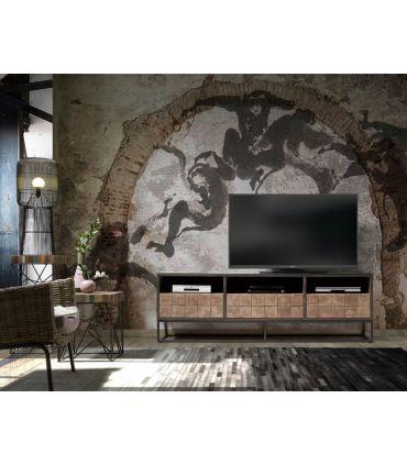 Mesa de televisión de teka y acacia Colección LATI