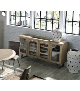 Comprar online Mueble Aparador Botellero de madera de Acacia HANDI