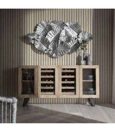 Mueble Aparador Botellero de madera de Acacia HANDI