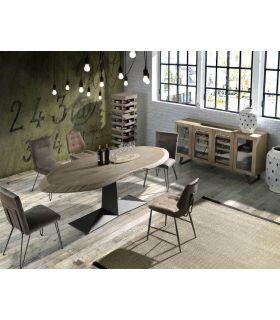 Comprar online Mesa de salón comedor en madera y metal modelo COBRA