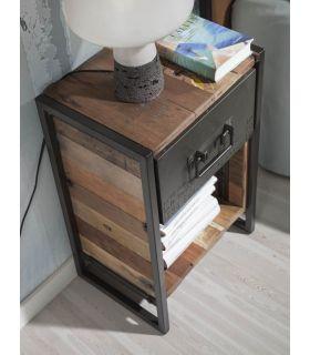 Comprar online Mesita de Noche de estilo industrial en madera y metal EDITO