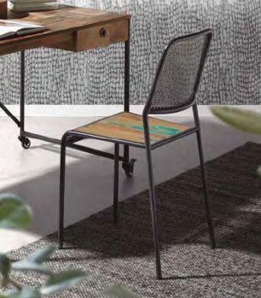 Silla de estilo industrial con asiento de madera KLEO