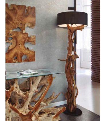 Lámpara de Pie de raices naturales de teka modelo BLUMA