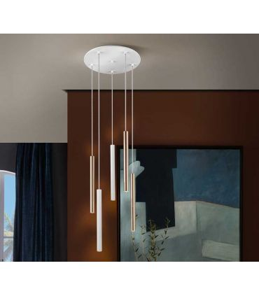 Lámpara de Techo colección VARAS 5L Dimables Oro/Blanca Schuller