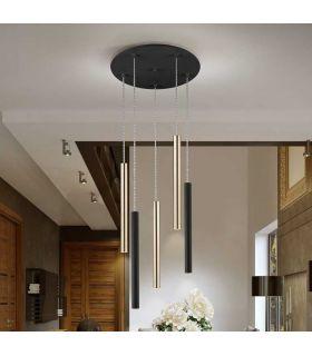 Comprar online Lámpara de Techo colección VARAS 5L Dimables Oro/Negra Schuller