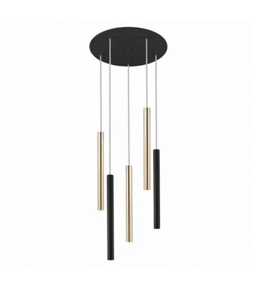 Lámpara colección VARAS 5L Dimables con mando Oro/Negro Schuller