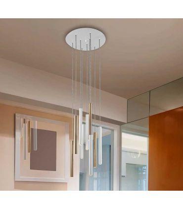 Lámpara de Techo colección VARAS 9L Dimables Oro/Blanca Schuller