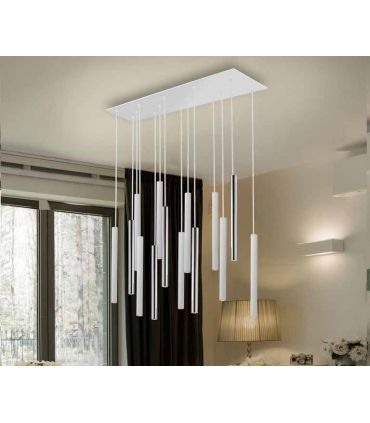 Lámpara de Techo colección VARAS 14L Dimables Cromo/Blanca Schuller