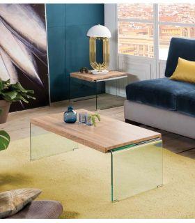 Comprar online Mesa de centro de cristal templado y madera SYDNEY