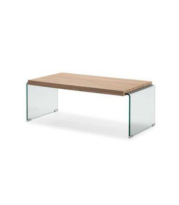 Mesa de centro de cristal templado y madera SYDNEY