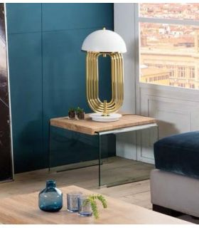 Comprar online Mesa auxiliar de cristal templado y madera SYDNEY