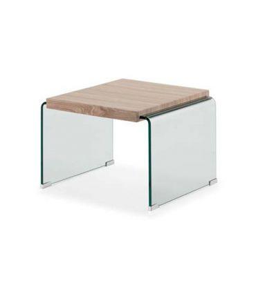 Mesa auxiliar de cristal templado y madera SYDNEY