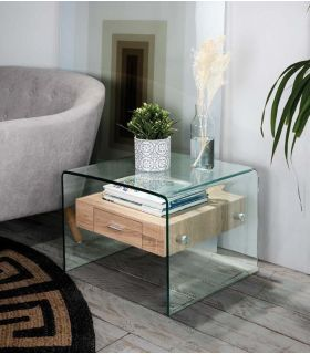 Comprar online Mesita Auxiliar de cristal templado y cajón de madera SYDNEY II