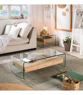Comprar online Mesa de centro de cristal templado y cajón de madera SYDNEY II