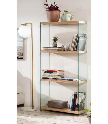Estantería de cristal templado y madera Colección SYDNEY GR