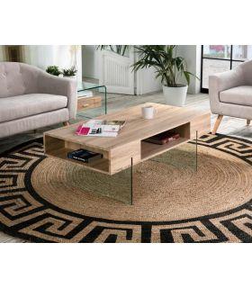 Comprar online Mesa de centro de cristal templado y madera CANBERRA