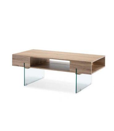 Mesa de centro de cristal templado y madera CANBERRA