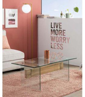 Comprar online Mesa de centro de cristal templado y madera CANBERRA II