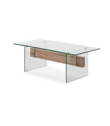 Mesa de centro de cristal templado y madera CANBERRA II