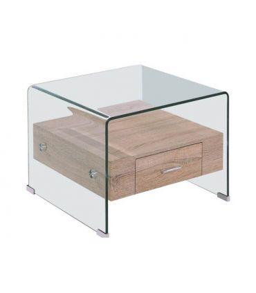 Mesita auxiliar de cristal y madera Modelo MARILYN