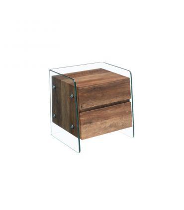Mesita de noche de cristal templado y madera SEBAS