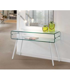 Comprar online Consola de cristal con patas de madera blanca GLASS II