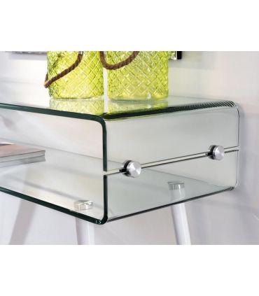 Consola de cristal con patas de madera blanca GLASS II