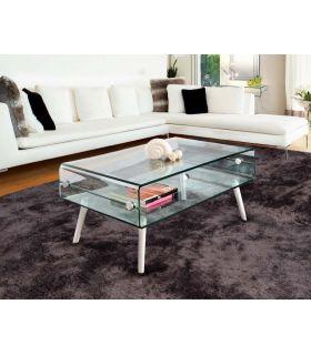 Comprar online Mesa de centro de cristal templado con patas de madera blanca GLASS II