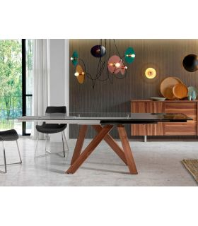 Comprar online Mesa de comedor con sobre de cristal templado extensible OPORTO