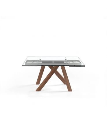 Mesa de comedor con sobre de cristal templado extensible OPORTO