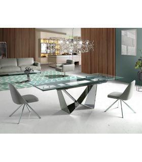 Comprar online Mesa de comedor extensible en acero y cristal templado COIMBRA