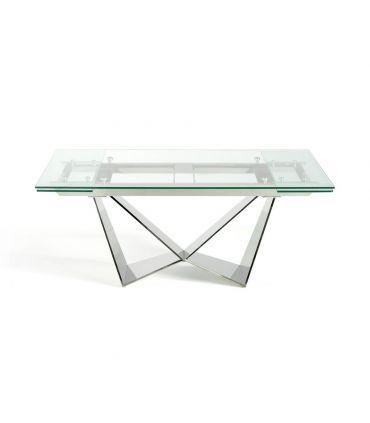 Mesa de comedor extensible en acero y cristal templado COIMBRA