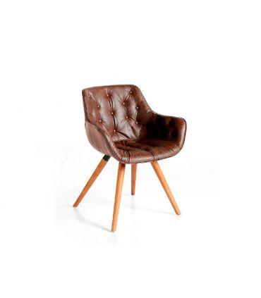 Silla tapizada con asiento con capitoné modelo DRAGMA
